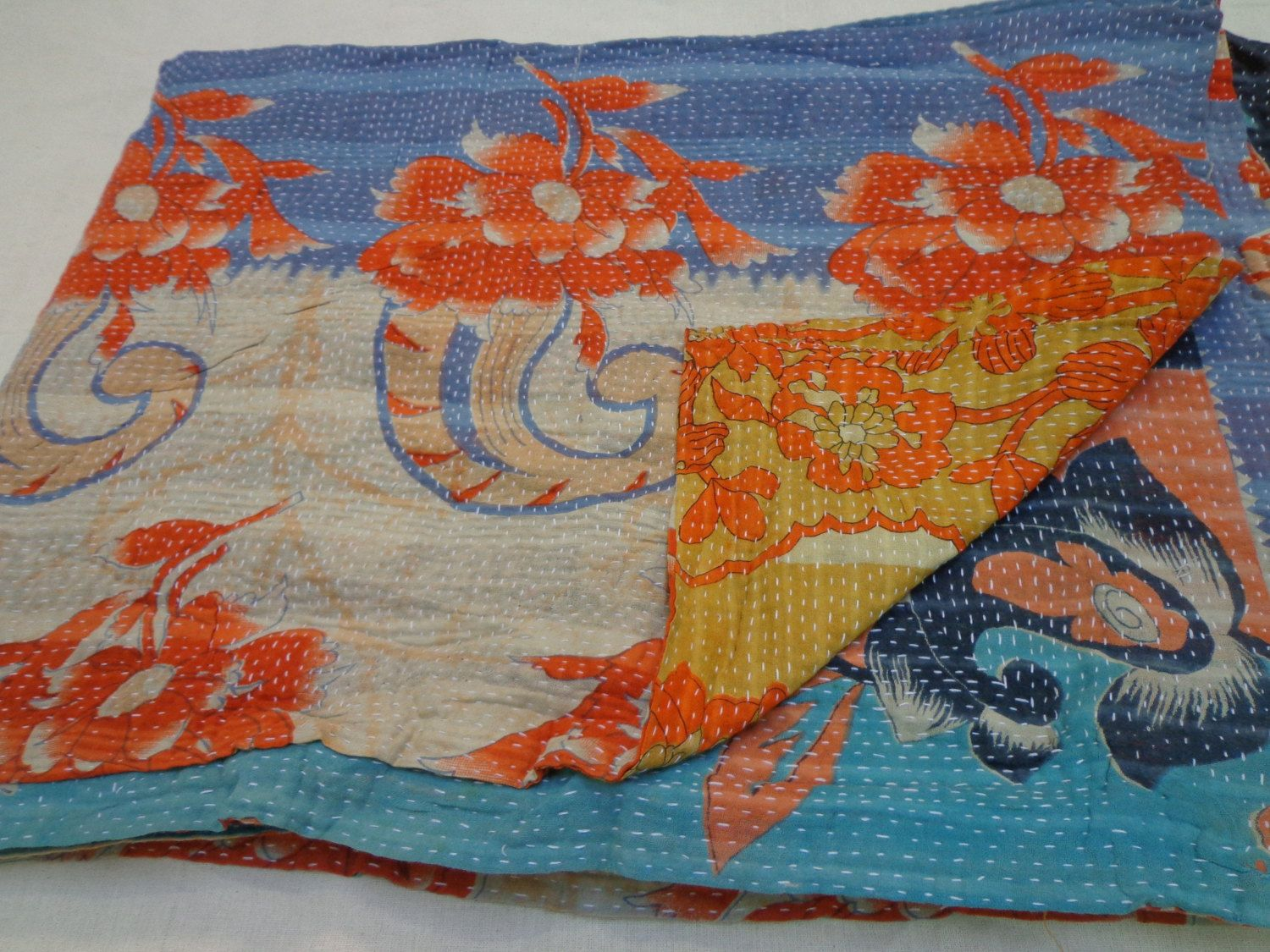 Authentic Kantha Quilt, Flower Print Quilt, Reversible Kantha Quilt, Tapestery king Bedding, Quilted BedSpread, Throw, Ralli, Gudari  A723. $59.00, via Etsy.
