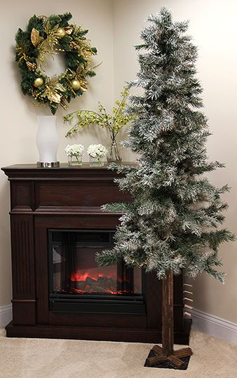 7 Ft. Frosted U0026 Glittered Woodland Alpine Artificial Christmas Tree, Unlit
