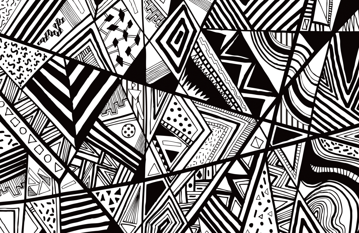 Black white abstract pattern vector line drawing graphic pen textile pattern vasare nar commission summer trend contemporary fashion aztec navajo triangles