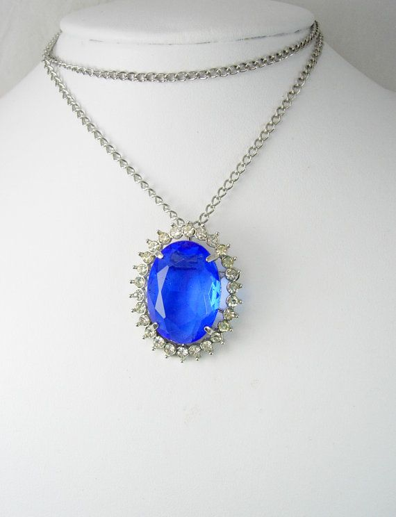 Huge Blue Rhinestone Pendant Necklace Brooch Framed in Brilliant Clear Rhinestones 21 Inch Chain Anniversary Wedding Holiday. This vintage huge