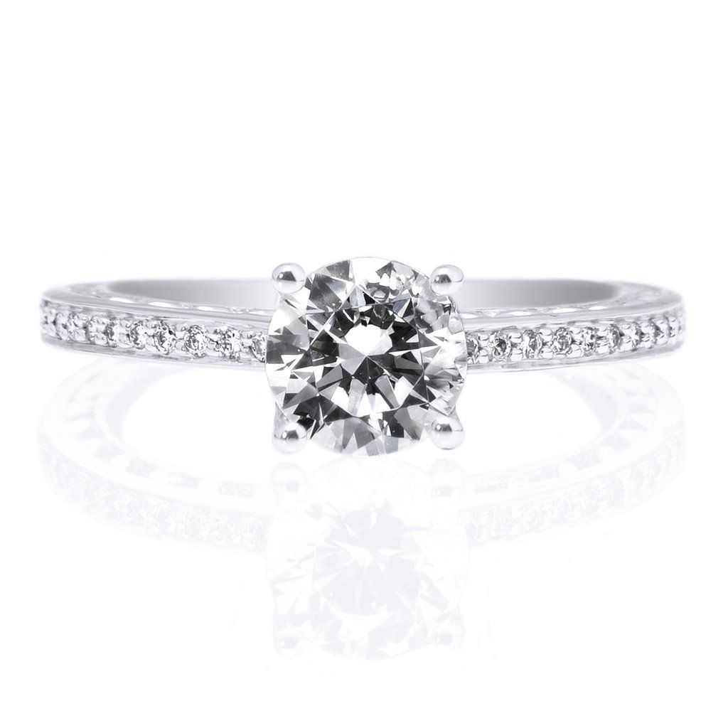 18K White Gold Anadare Lattice Micropave Diamond Band Engagement Ring- Do NOT like micropave