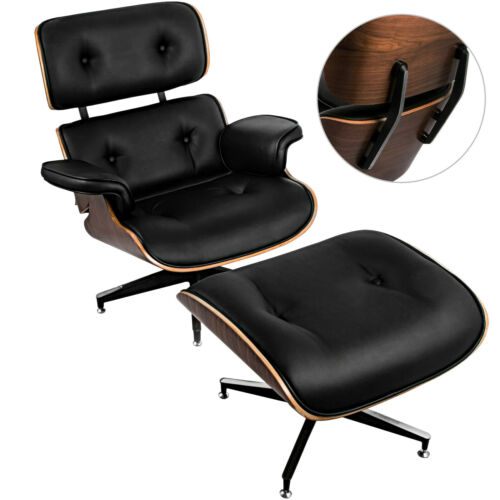 Style Lounge Chair Ottoman Pu Leather Recliner Chair Black Walnut W Foot Stool In 2020 Leather Recliner Chair Style Lounge Chair And Ottoman