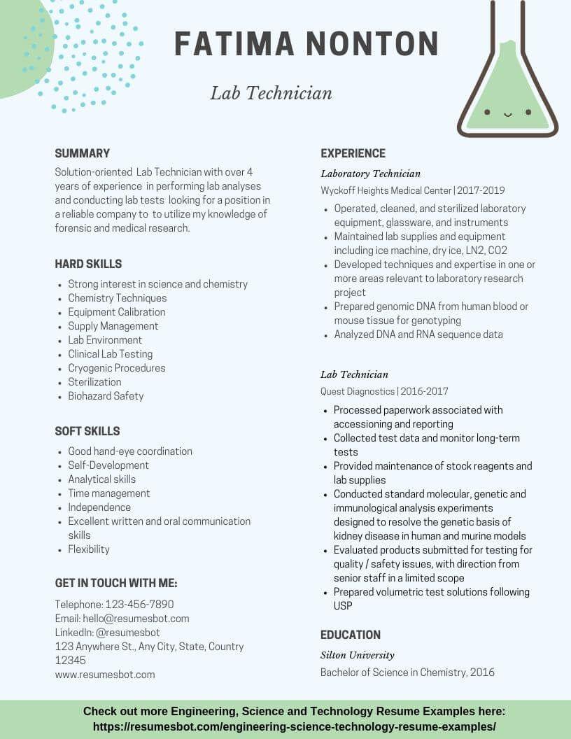 Lab Technician Resume Samples Templates Pdf Doc 2021 Lab Technician Resumes Bot Laboratory Technician Lab Technician Resume Examples