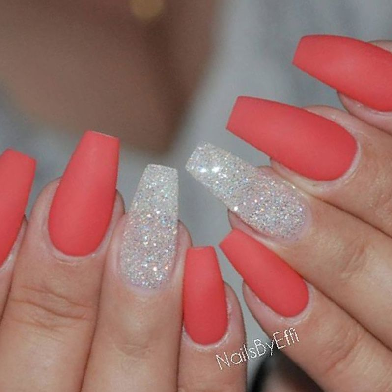 Follow Tr Ea Y For More O In Pins Nail Coral Coffin Nails Glitter Gold Nail Designs Coffin Nails Glitter Coral Nails