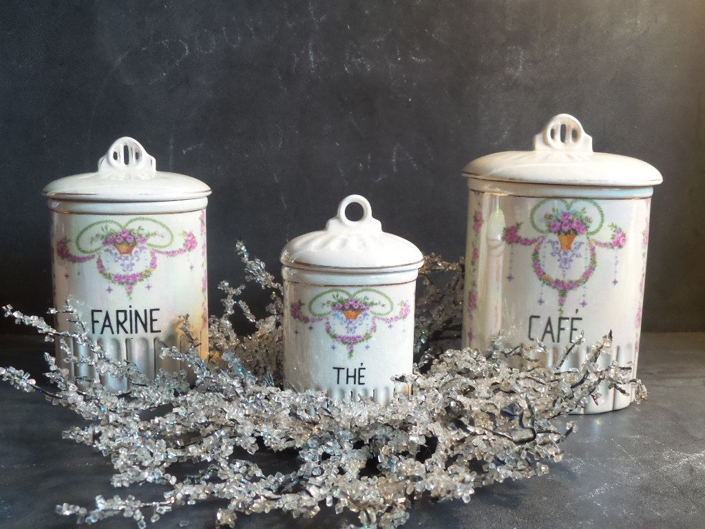 French Antique Set Of 3 Kitchen Canisters Kitchen Containers. French  Canisters Shabby Chic By CabArtVintage On Etsy