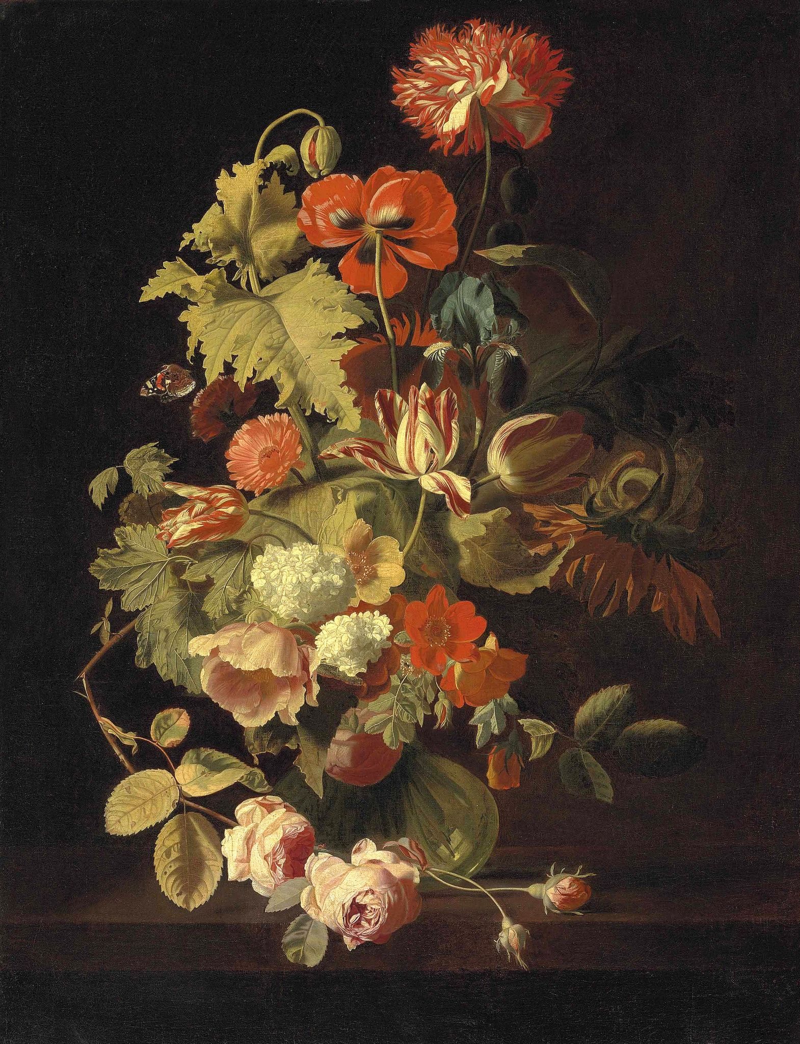 Simon Pietersz Verelst Carnation Iris Roses Tulips And Other Flowers In Glass Vase On A Stone Ledge 17th Century Rose Art Art Painting