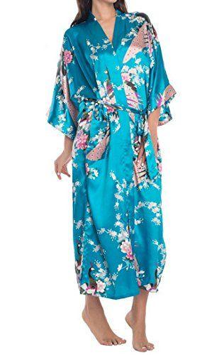 f8b559fb531cc Kimono Rétro Peignoir Japonais Robe De Pyjama Femme Sexy Nuisette - Robe de  chambre Longue Imprimé - Bleu - Taille XL