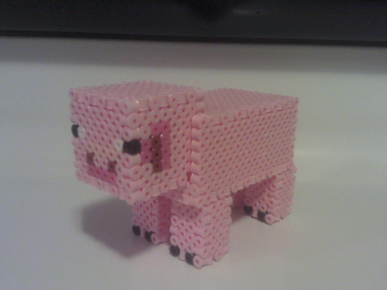 minecraft pig perler 3d perler 3d perler