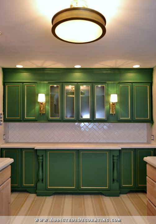 Wall Of Cabinets Finished For Now Green kitchen Bar and Kitchens