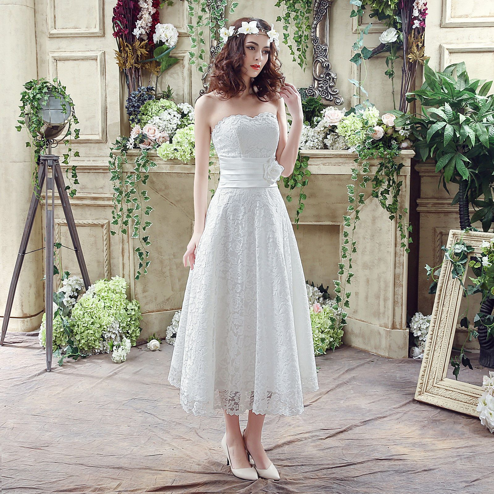Awesome great tea length lace beach short wedding dresses new