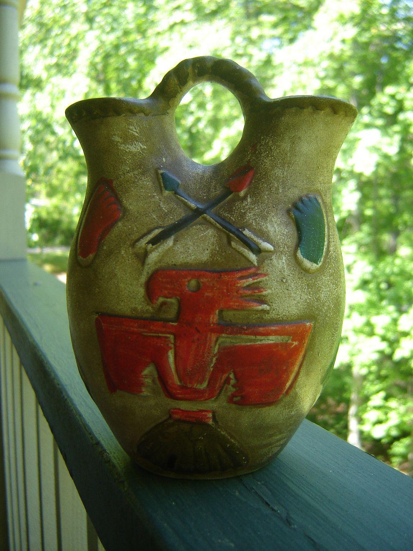 Vintage Native American Indian Wedding Vase Thunderbird
