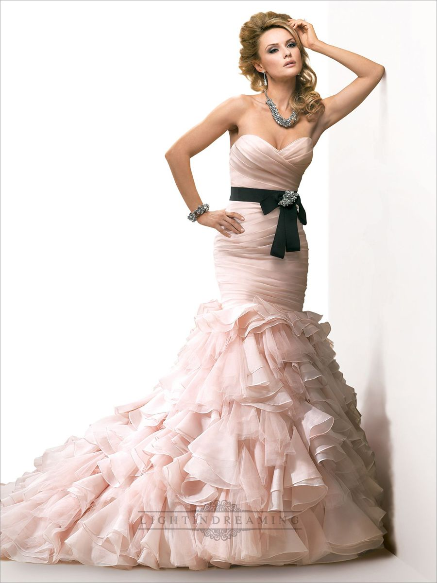 Organza Pink Ruched Sweetheart Wedding Dress with Mermaid Layered ...