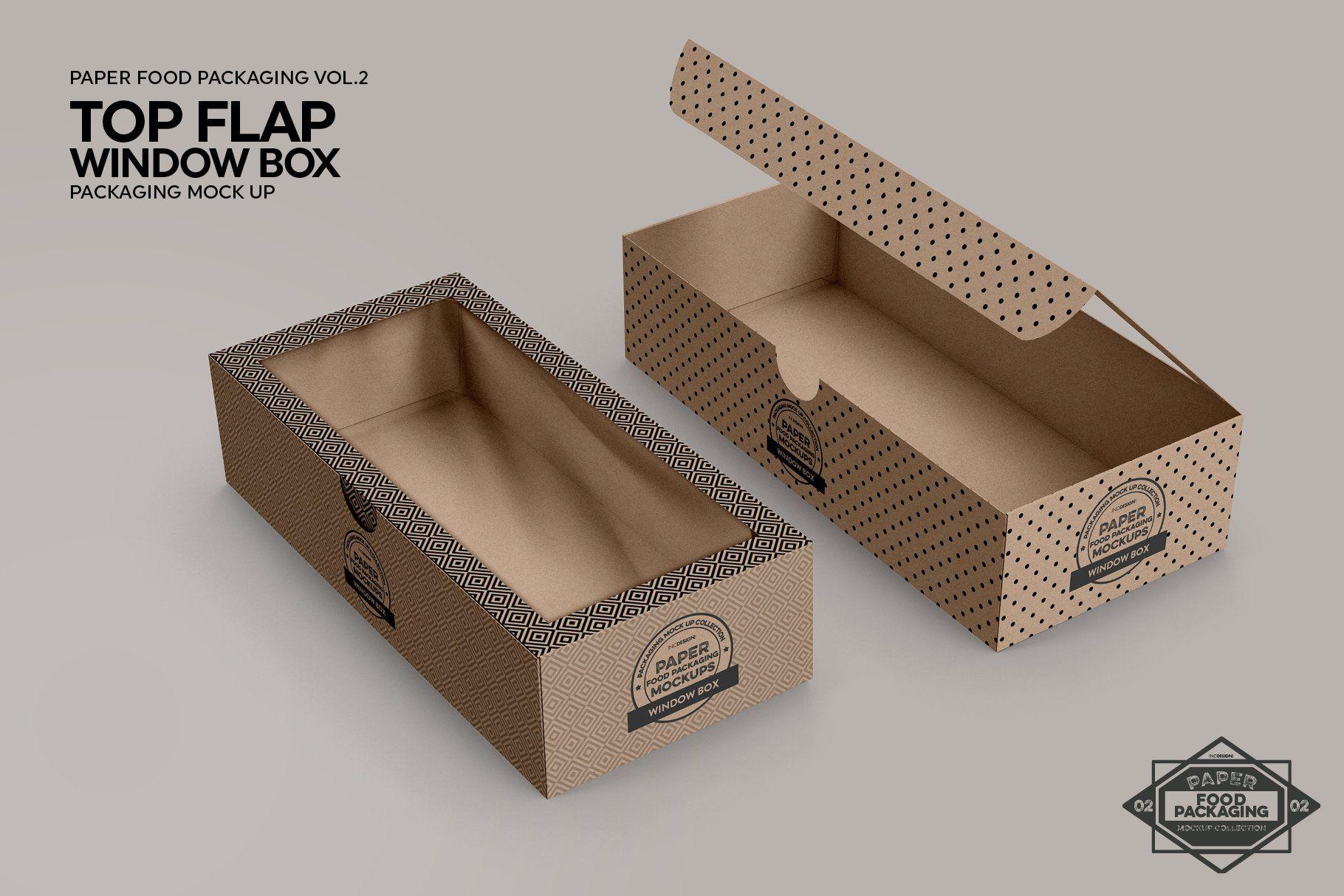 Download Top Flap Window Box Packaging Mockup Packaging Mockup Packaging Template Box Packaging