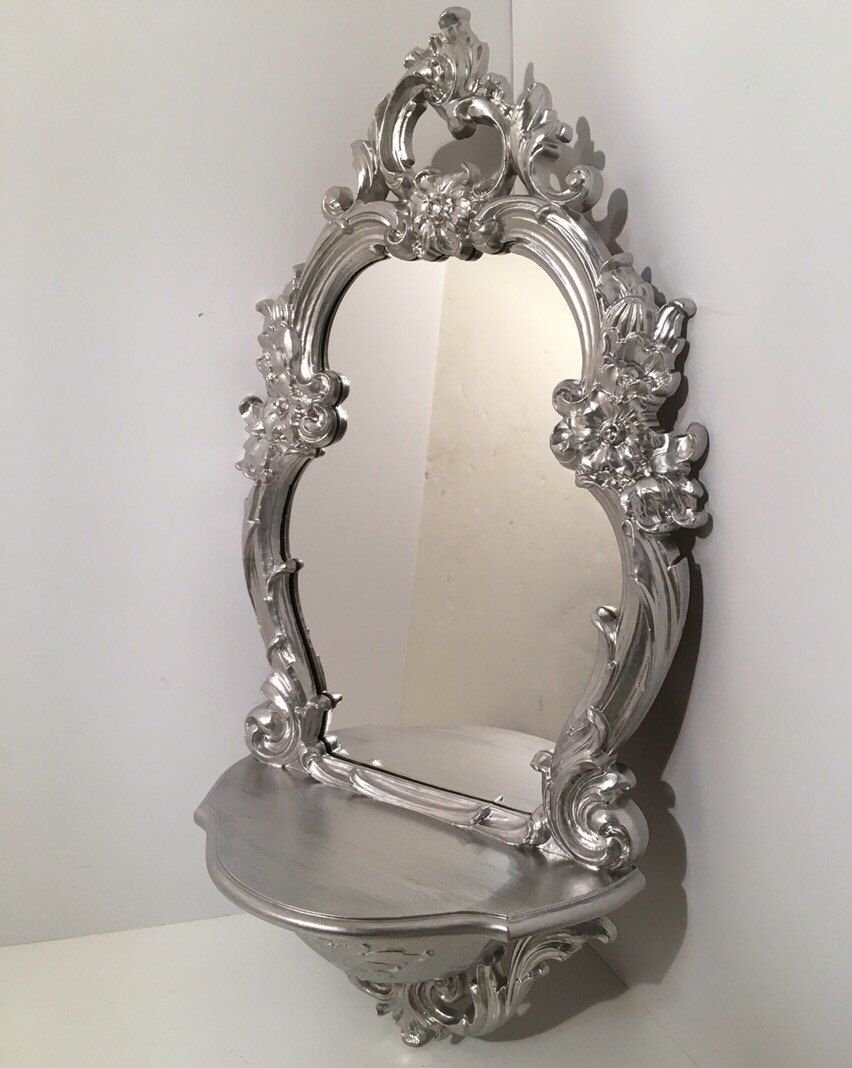 Vintage Silver Small Mirror With Shelf Rococo Style By Vintageloveantiques On Etsy Https Www Etsy Com Listing 27356315 Mirror Small Mirrors Mirror With Shelf