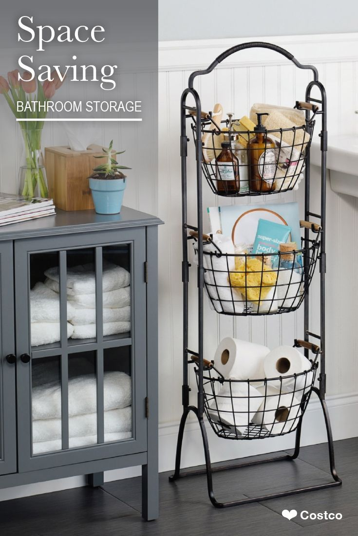 This 3 Tier Market Basket Stand Is The Practical And Elegant Storage Solution That Will Bring Organiz Small Bathroom Market Baskets Bathroom Makeover