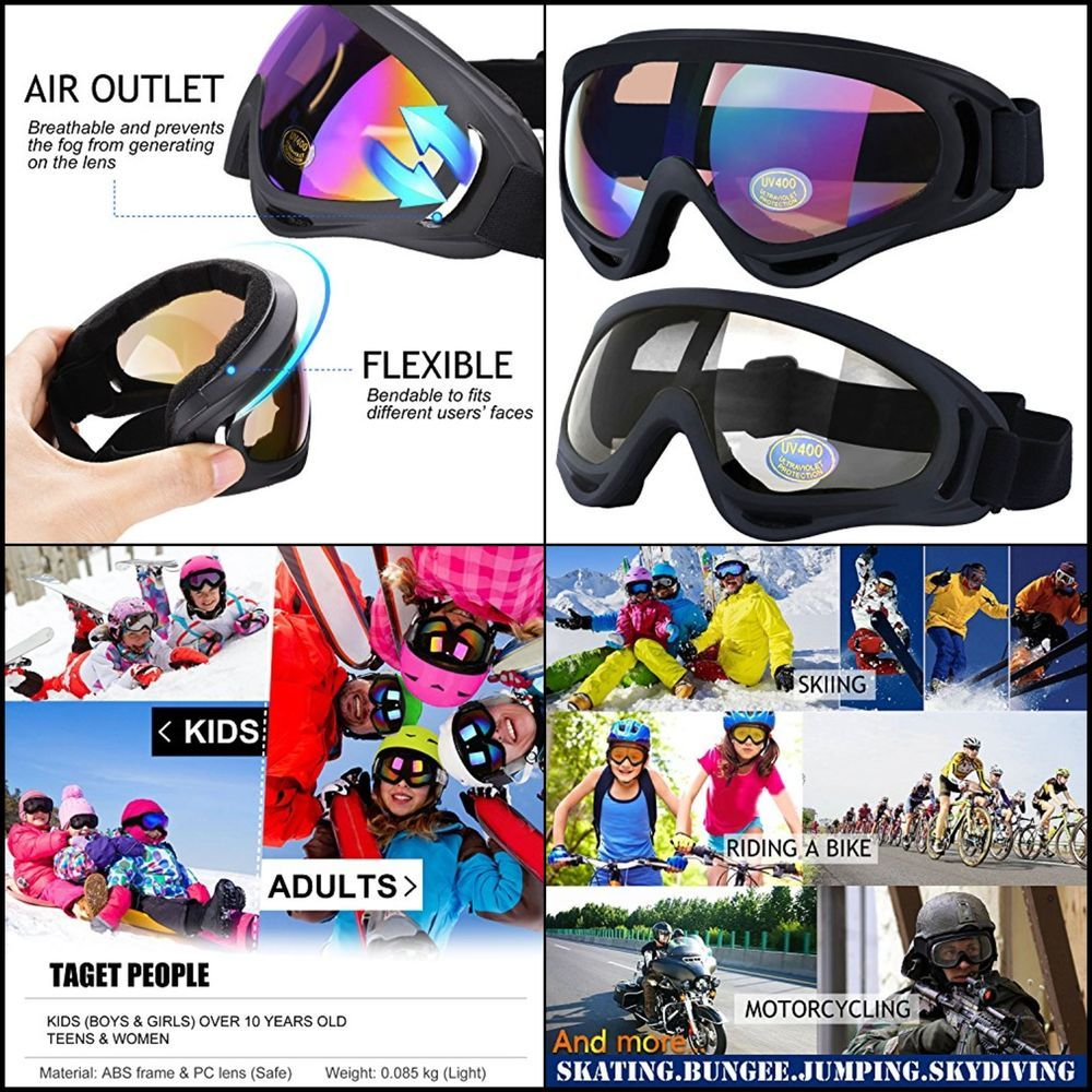 d3b766bebe1 Ski Goggles 2Pack Skate Glasses with UV 400 Protection Windproof for  Snowboard  Outgeek
