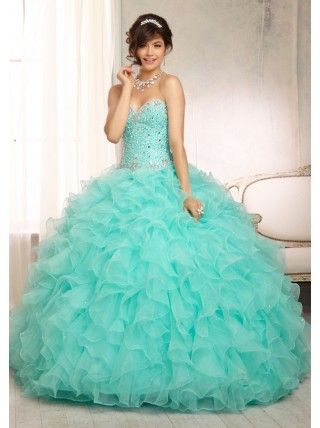 ef637afcb1 Ball Gown Sweetheart Ruffles Silver Rhinestones Turquoise Tulle Quinceanera  Dress