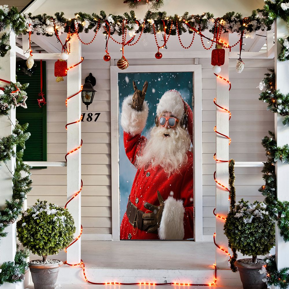 Santa Smiling Door Cover Christmas Door Decorations Christmas Door Christmas Decorations