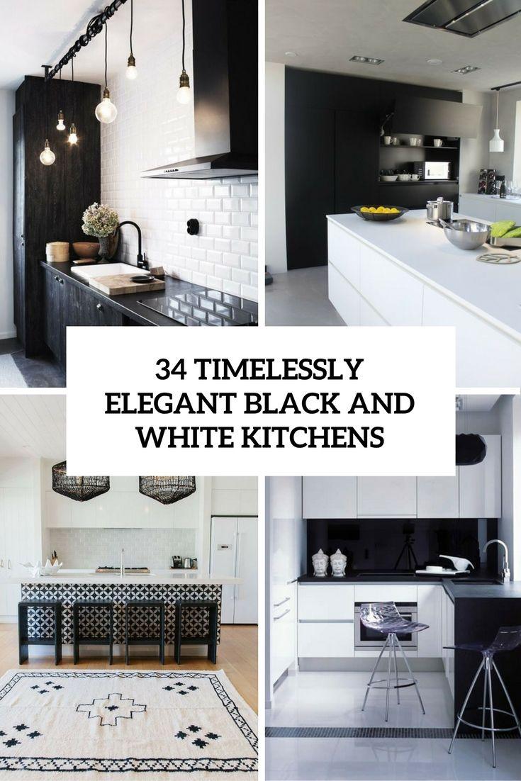 34 timelessly elegant black and white kitchens cover