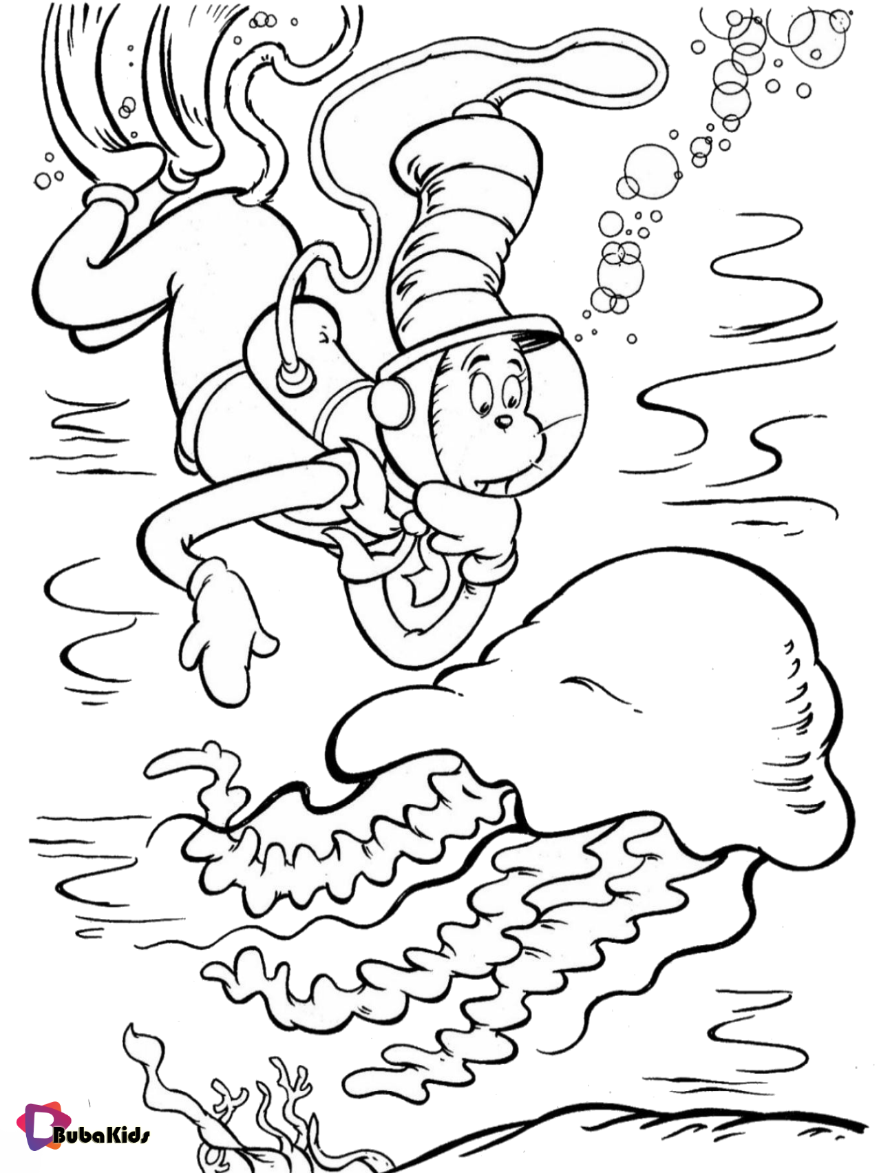 Dr Seuss The Cat In The Hat Jellyfish Coloring Page In