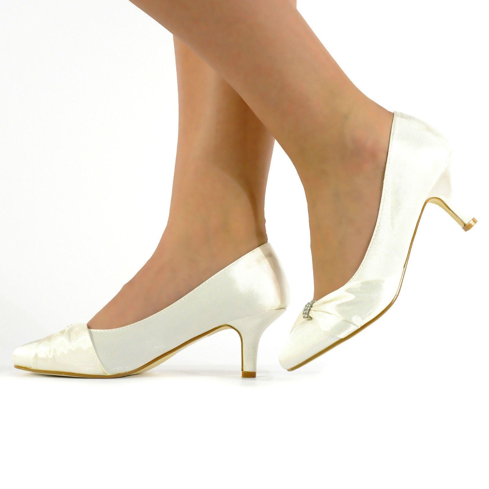 Ladies Womens Wedding Shoes Bridal Bridemaids Prom Diamante Ivory Shoes Size