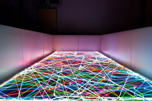 Light paintings made from attaching a camera to a Roomba vacuum cleaner.