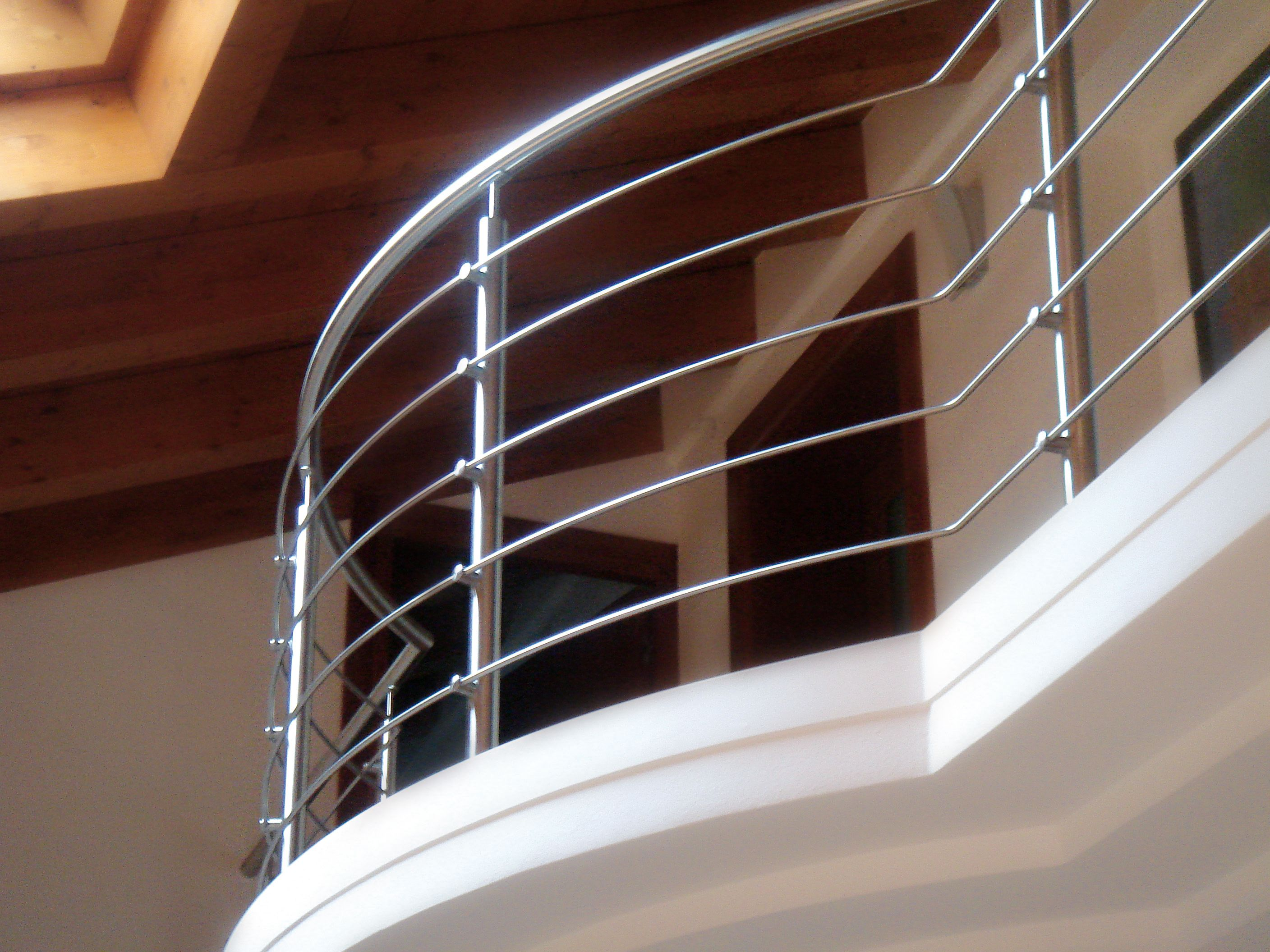 Our Stainless Round Bar Makes An Excellent Balcony Rail Steel Stairs Stainless Steel Staircase Steel Gate Design