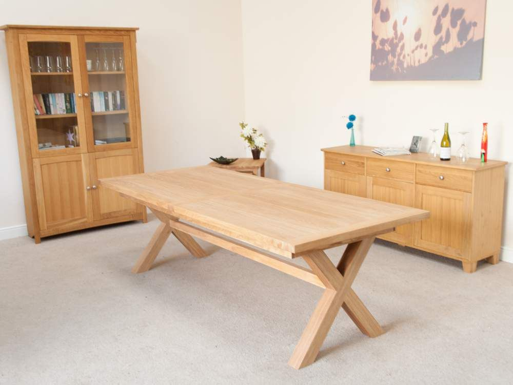 Provence 10 12 seater cross leg extending oak dining table fur large cross leg dining table in the provence design watchthetrailerfo