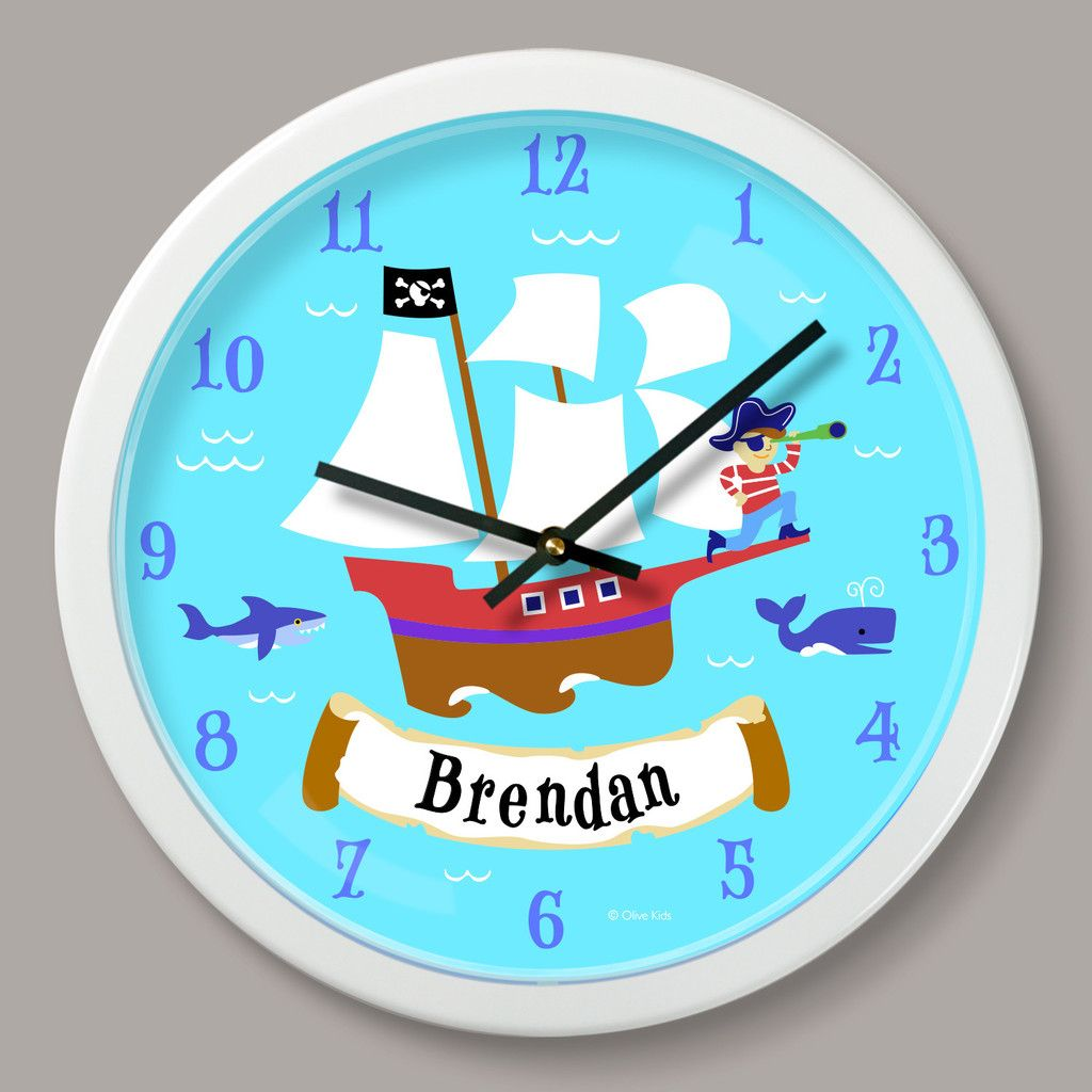 Pirate Ship Quilts Kids Pirate Ship Wall Clock Personalized Kid