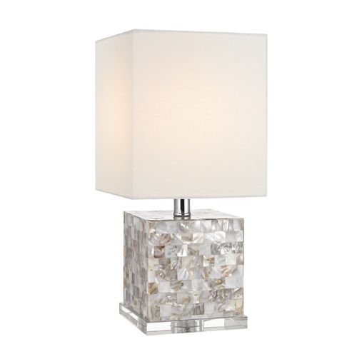 Lights · cute and compact shell square base table lamp with white lamp shade