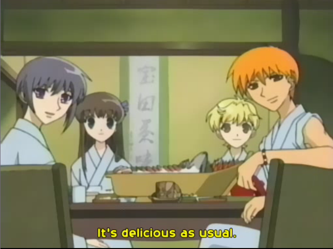 kyo complementing the cook. cute Fruits basket anime