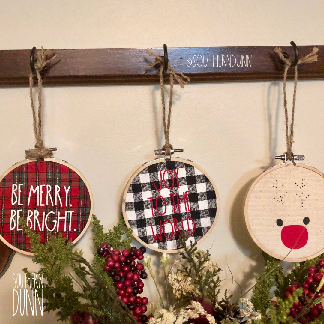 Rae Dunn Inspired Ornaments Embroidery Hoop Ornaments Hoop Etsy Farmhouse Christmas Ornaments Embroidery Hoop Decor How To Make Ornaments