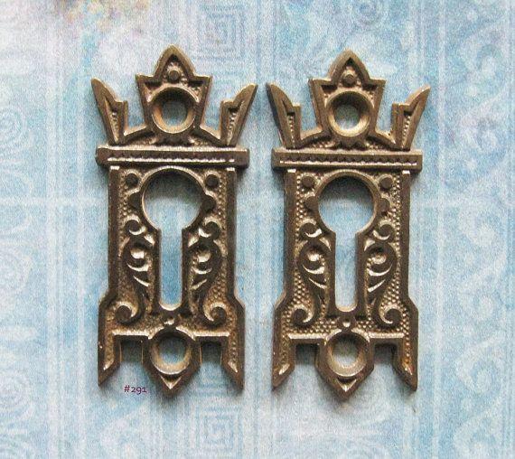 Gothic Black Eastlake Escutcheon Keyhole Furniture Hardware Antique Skeleton Key Plates Gryphon Wing Embellishment Gothic Black & Gothic Black Eastlake Escutcheon Keyhole Furniture Hardware Antique ...