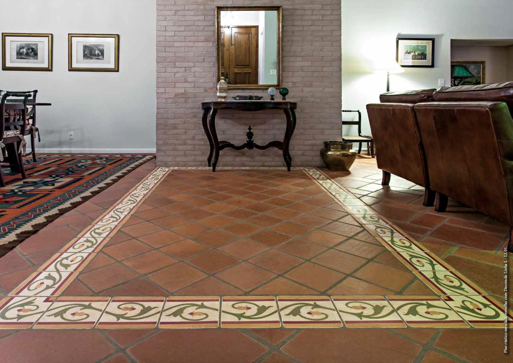 Piso r stico com faixa decorada brasil revest Pisos ceramicos rusticos para interiores