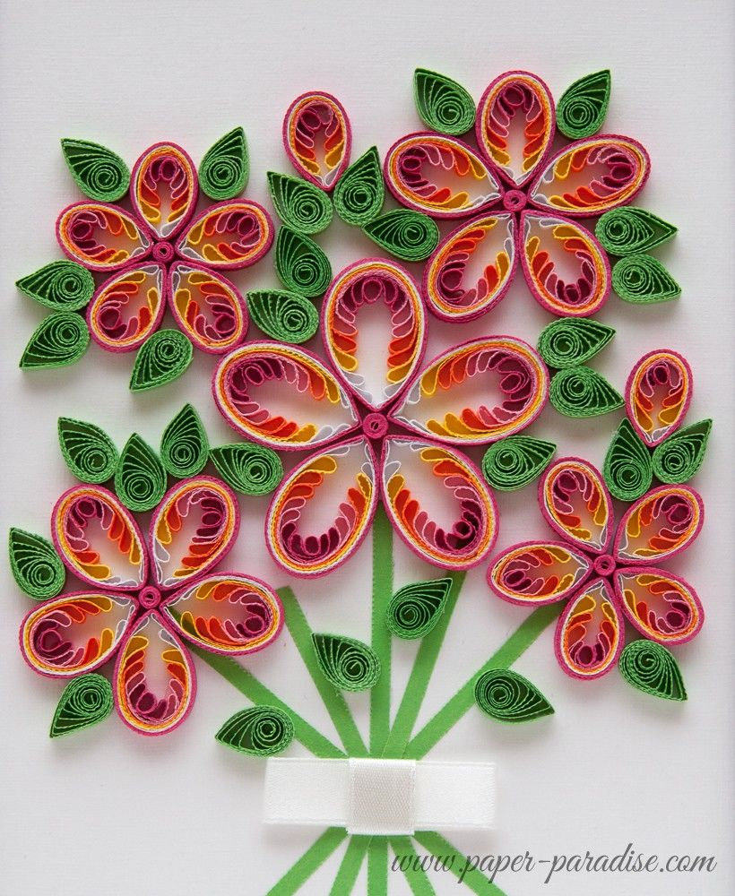 Quilling kwiaty quilled flowers bukiet quilling for Paper quilling designs