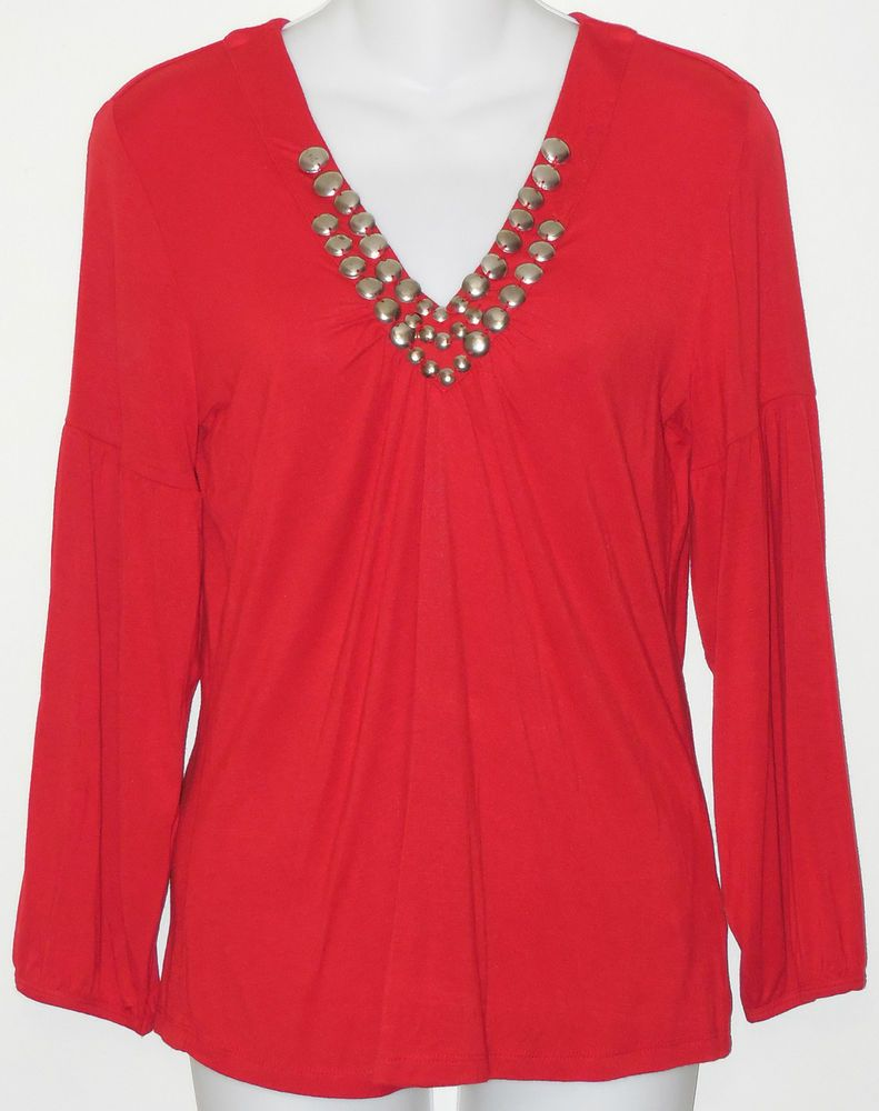 b9bbae91706 MICHAEL KORS Top NEW sz m Red Jersey Beaded Gathered Silver Metal Disc Trim  #MichaelKors #Blouse #Casual