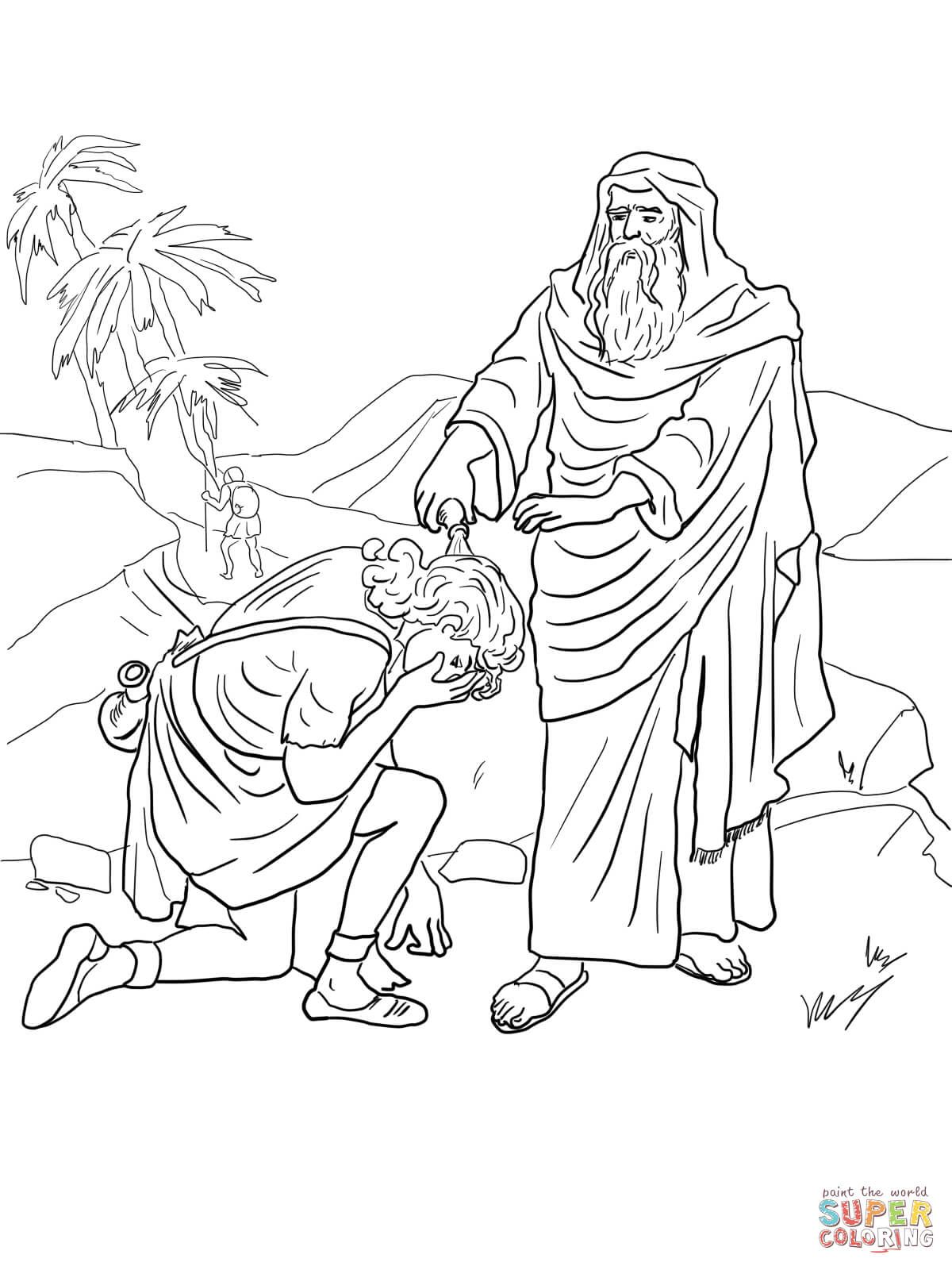 Samuel Anoints David As King Coloring Page Free Printable