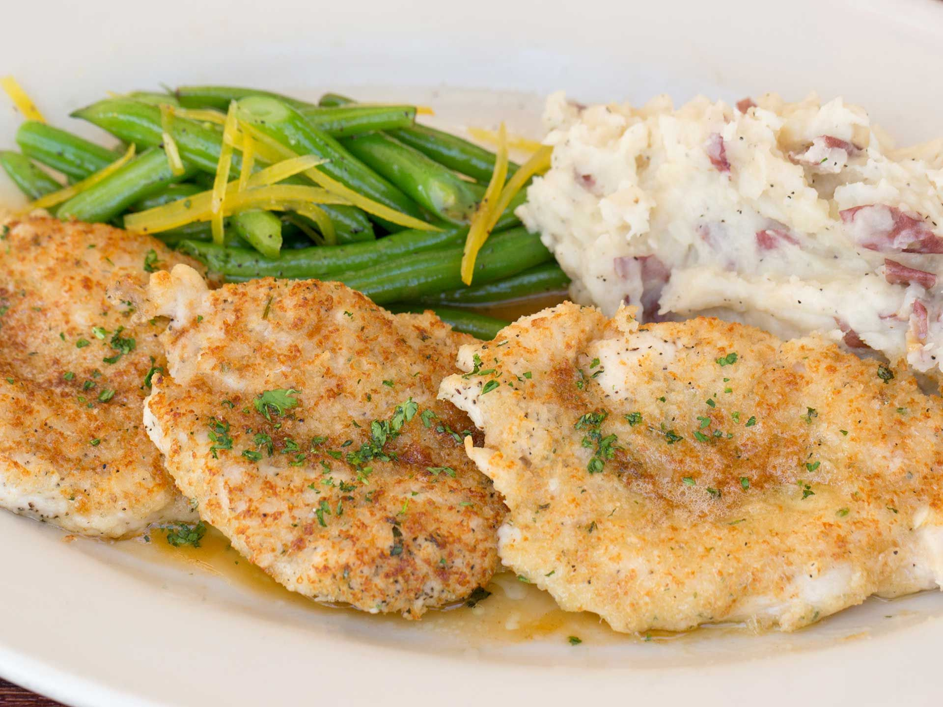 parmesan-herb crusted chicken- sautéed chicken breasts coated with