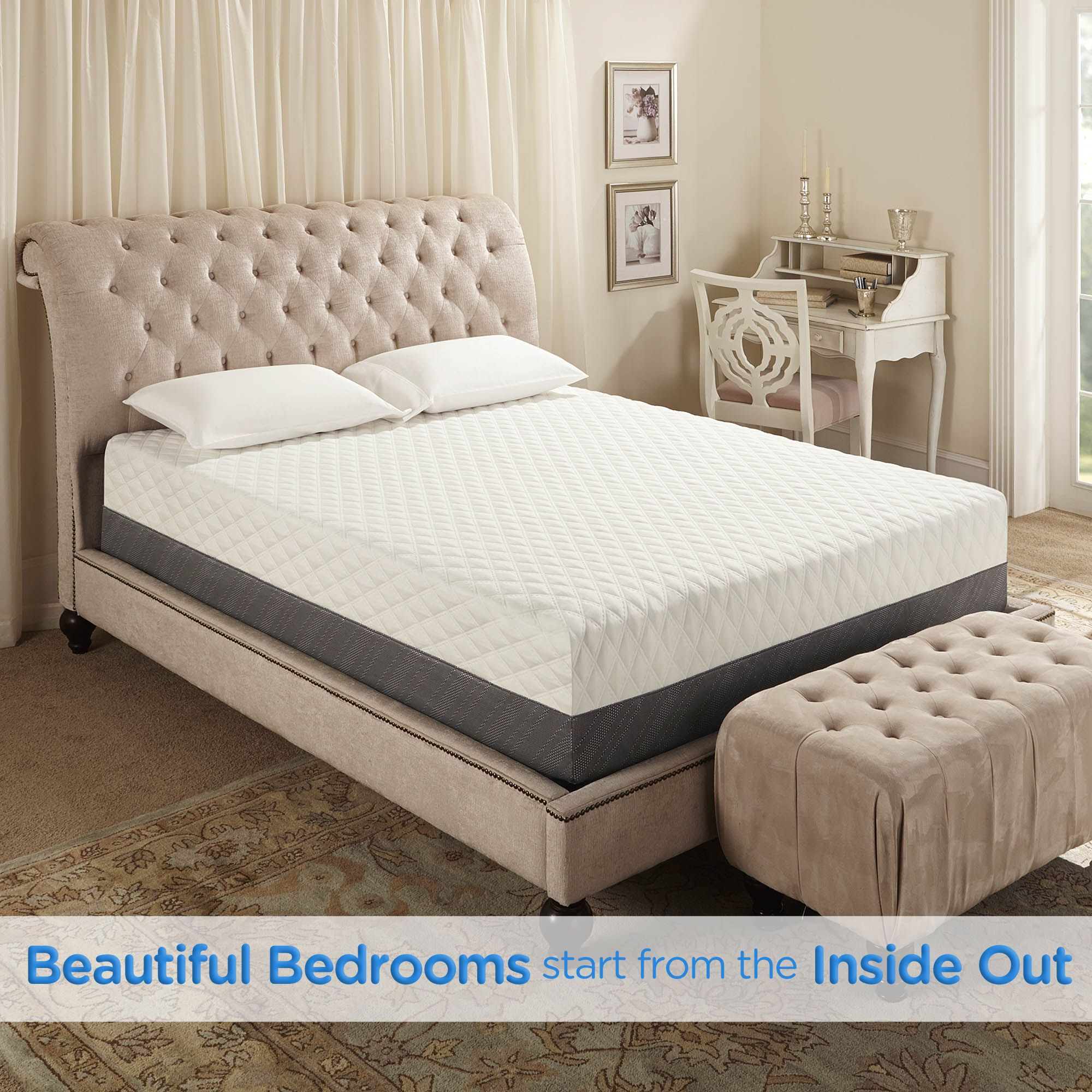A Beautiful Bedroom Starts From The Inside Out A Comfortable Memory Foam Mattress Serves As With Images Mattress Queen Memory Foam Mattress Queen Mattress Size