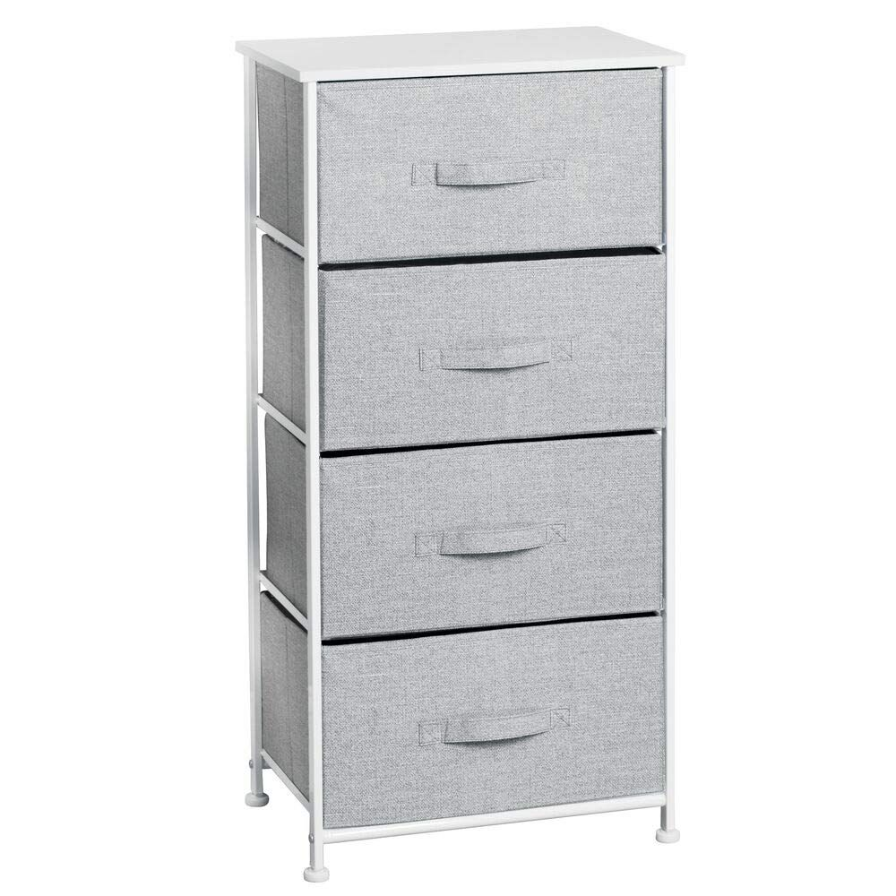MDesign Fabric 4-Drawer Storage Organizer Dresser For Clothing, Sweaters, Jeans, Blankets - Gray #affiliate | Dresser Storage, Storage Towers, Drawer Storage Unit