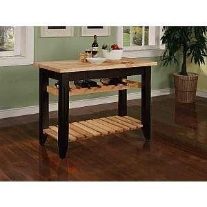 Black Kitchen Work Table with Wine Rack Work Tables Kitchen