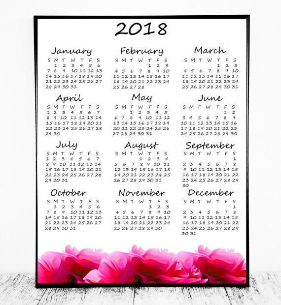 12 months calendar 2018