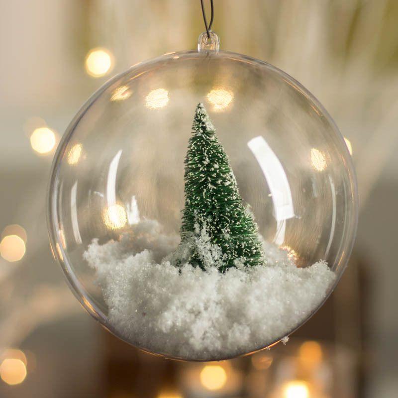Plastic Round Ball Christmas Clear Bauble Ornament Gift Xmas Tree Craft Decor A Ornamenti Natalizi Ornamenti Per Alberi Di Natale Decorazioni Albero Di Natale