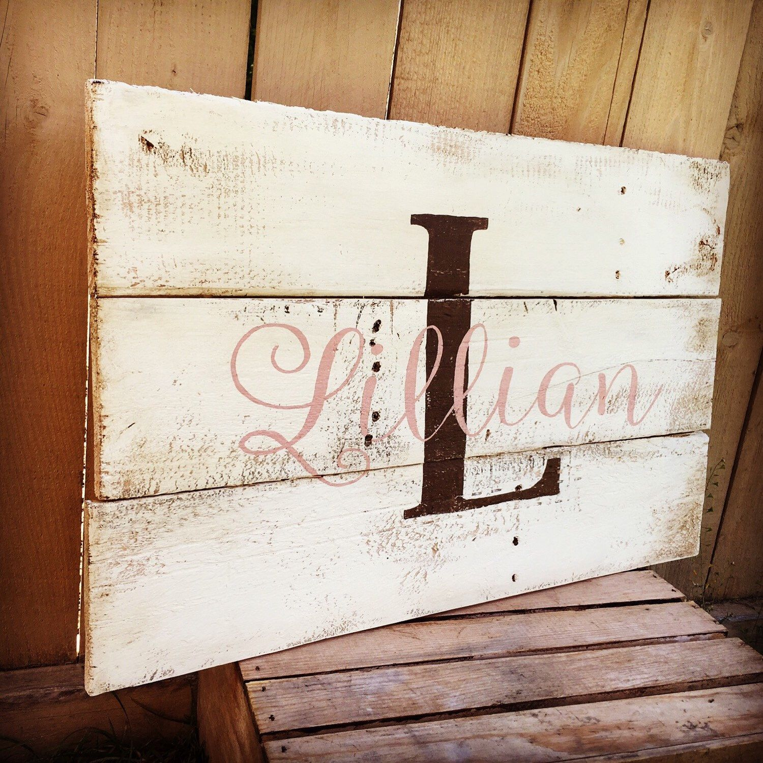 Rustic Large Nursery Name Monogram Hand Painted Reclaimed