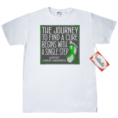 "Whether you're walking, jogging or running for cancer awareness, you need to set yourself apart with this cute slogan design called ""The Journey to Find A Cure Begins With A Single Step"" T-Shirt - White for Adrenal Cancer awareness featuring a ribbon over a footprint to signify that every step counts.  Everyone loves our Custom T-Shirts! Wardrobe essential for looking good, 24/7. 5.0 oz., pre-shrunk 100% cotton. Seamless 1x1 rib collar. Shoulder-to-shoulder taping. Double-needle stitched…"