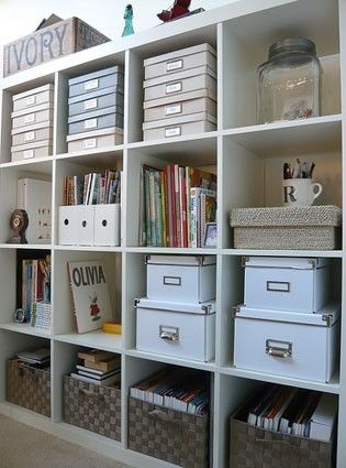 Ikea Expedit storage shelf - for the office, sewing room, garage, etc. The bins and boxes are great for hiding clutter.