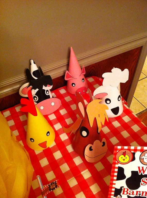 Printable Diy Barnyard Farm 3D Party Hats Cow Pig Horse Sheep Chick On Etsy 350
