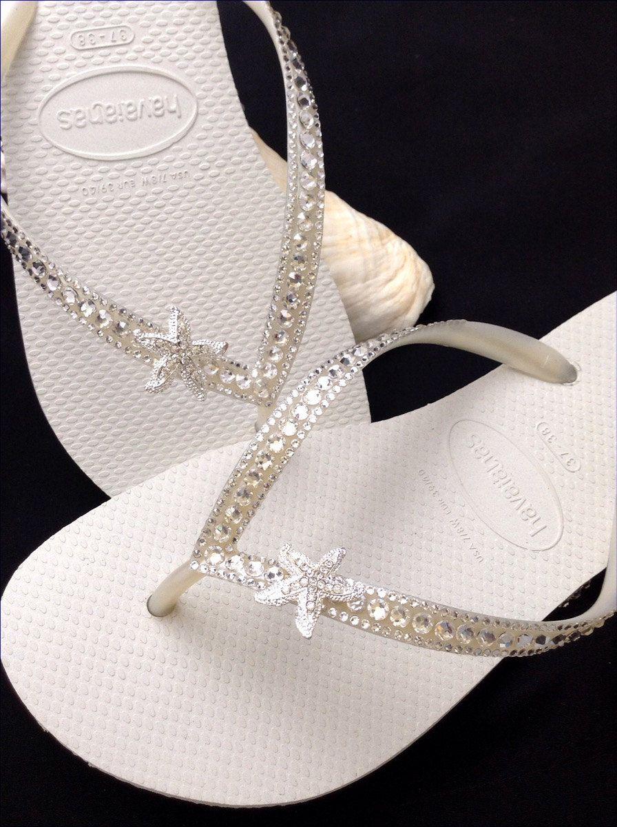 Custom Crystal Havaianas Slim Flip Flops Silver Starfish Ocean Sea W Swarovski Bling White Wedding Dynamite Rhinestone Beach Thong Shoes
