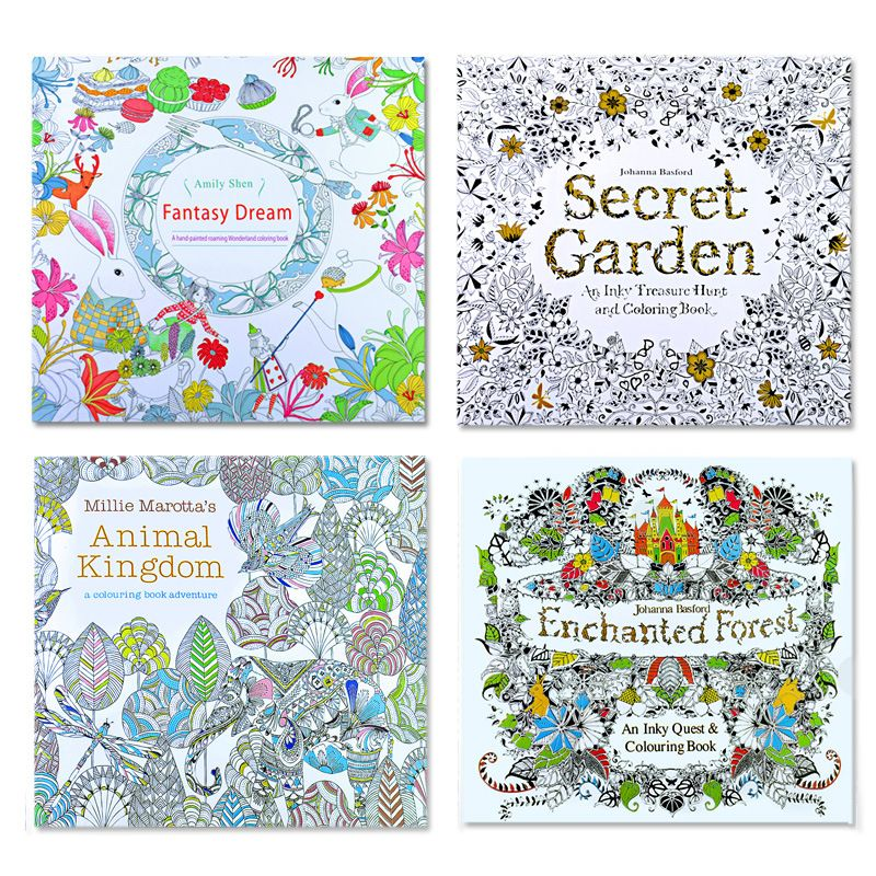 4pcs English Edition Secret Garden Fantasy Dream Animal Kingdom Coloring Book Children Adults Colouring