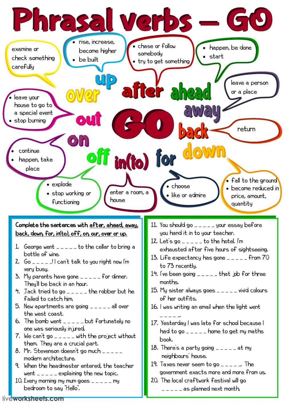Phrasal verbs interactive and downloadable worksheet. You can do the  exercises online or download the worksheet as pdf…   Verb worksheets [ 1413 x 1000 Pixel ]